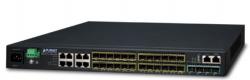 Layer 3 16-Port 100/1000X SFP + 8-Port Gigabit TP/SFP + 4-Port 10G SFP+ Stackable Managed Switch (100~240V AC, 12V DC)