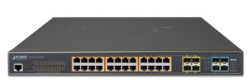 L3 24-Port 10/100/1000T 802.3bt PoE + 4-Port 10G SFP+ Managed Switch
